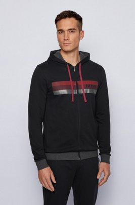 Hooded French-terry jacket with block-striped logo print, Black