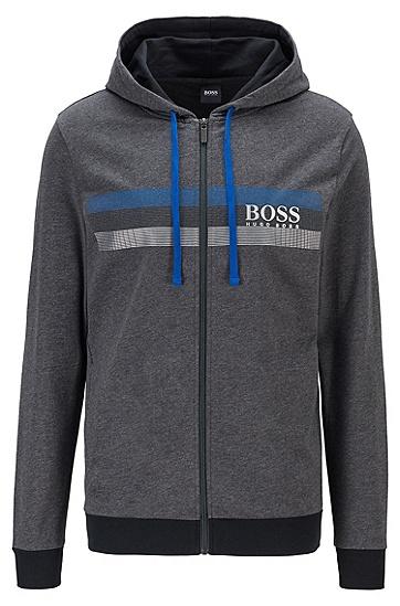 粗条纹徽标印花法式毛圈布连帽夹克,  022_暗灰色