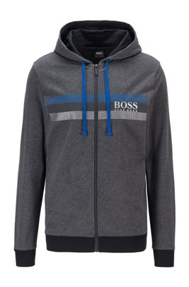 Hooded French-terry jacket with block-striped logo print, Dark Grey