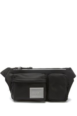 Belt bag in nylon twill with reflective logo patch, Black