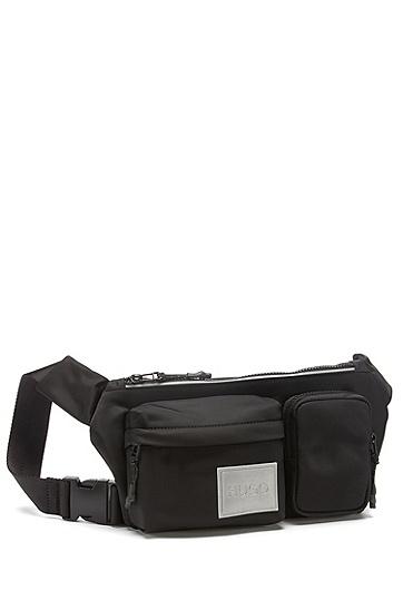 反光徽标饰片尼龙斜纹布腰包,  001_黑色