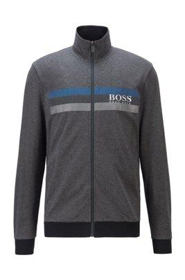 High-neck loungewear jacket with block-striped logo print, Dark Grey