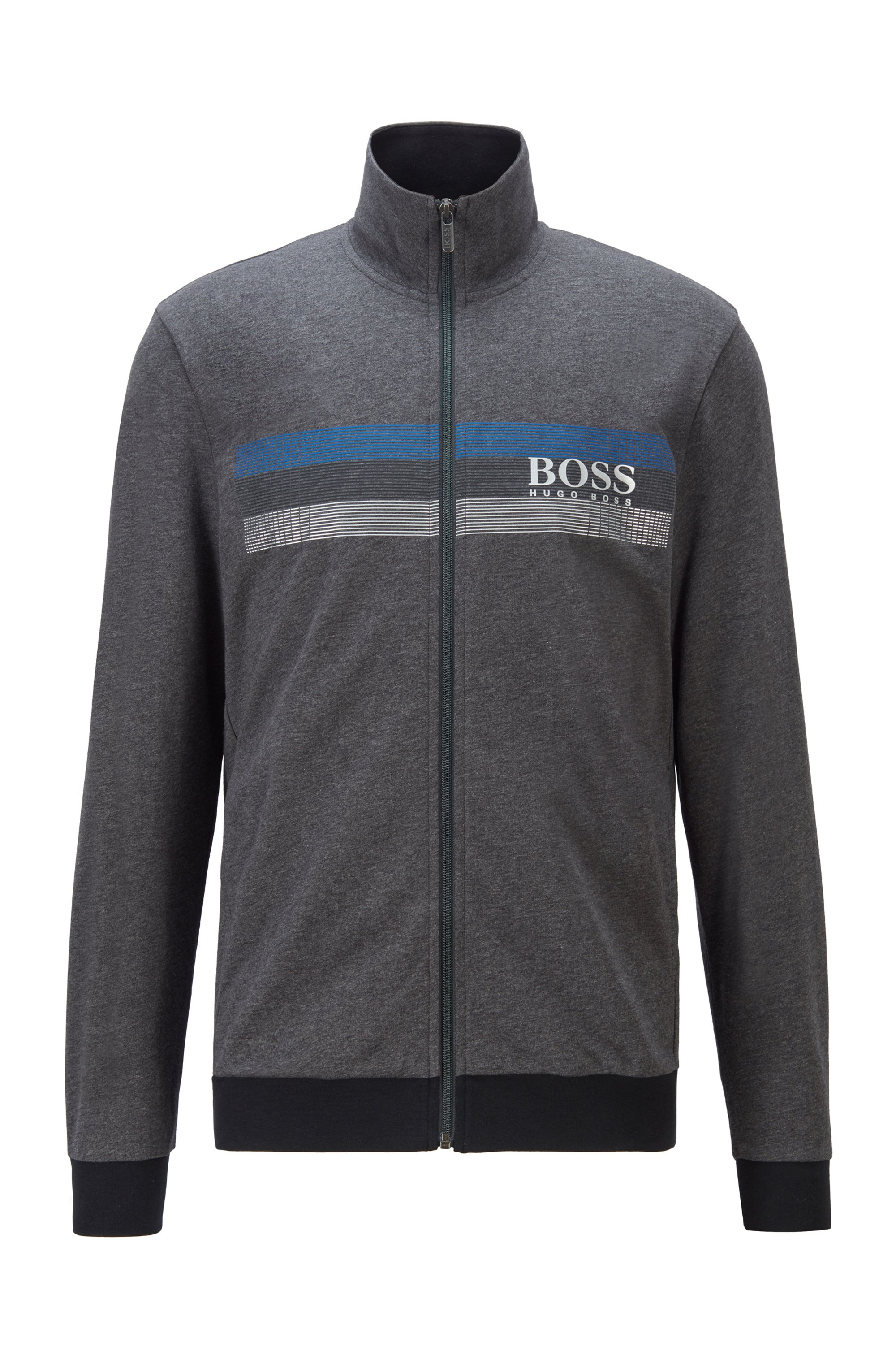 High-neck loungewear jacket with block-striped logo print, Dark Grey