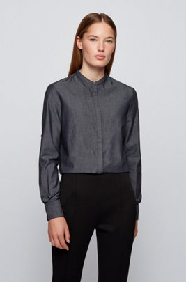 Chambray cotton relaxed-fit blouse with stand collar, Black