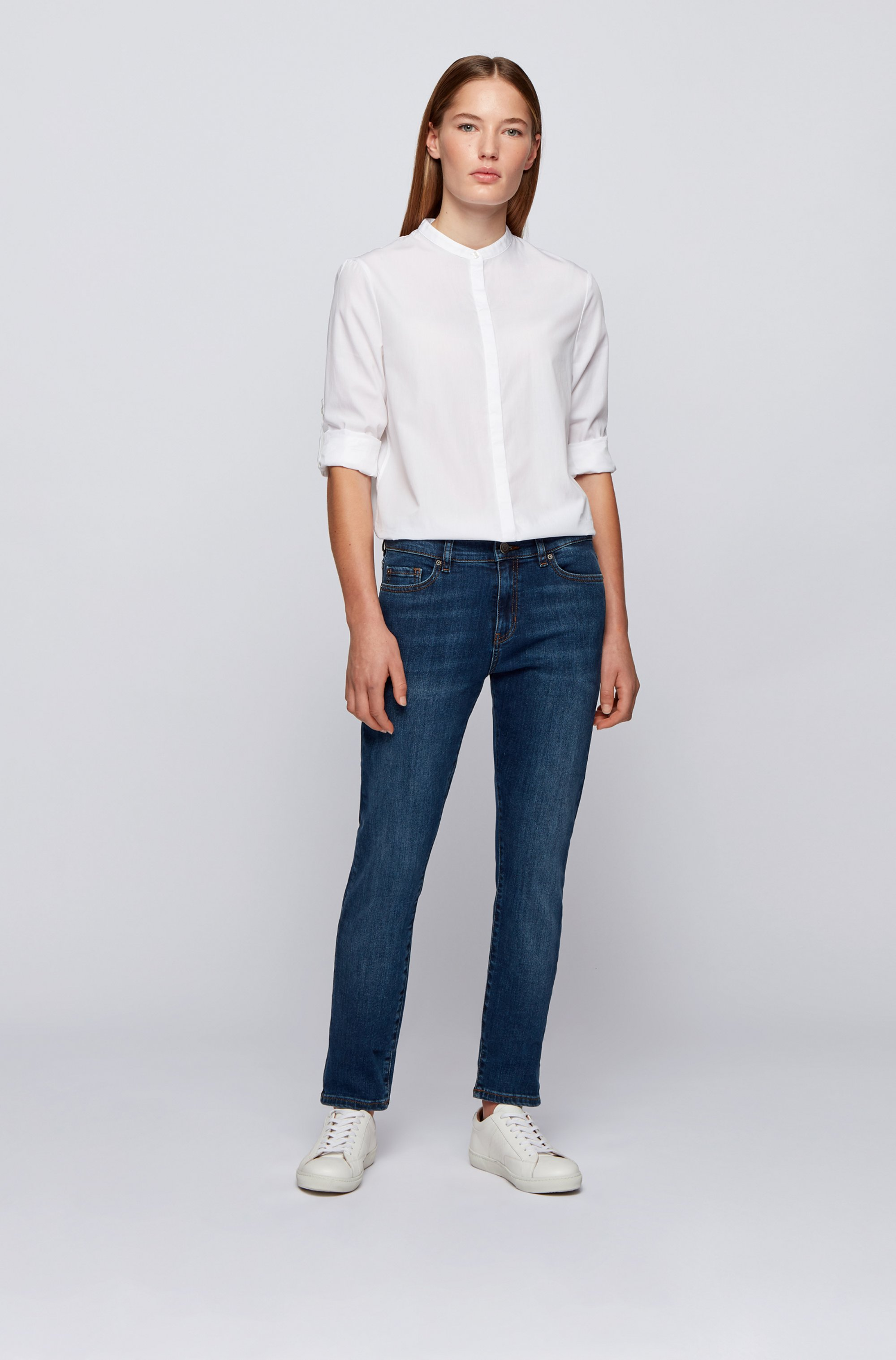 Relaxed-fit blouse in lightweight cotton with stand collar