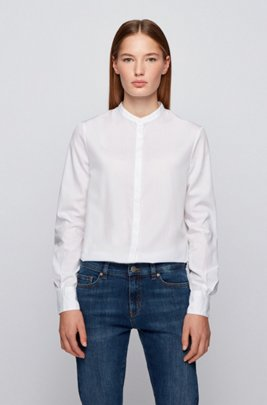 Relaxed-fit blouse in lightweight cotton with stand collar, White