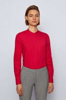 Relaxed-fit blouse in lightweight cotton with stand collar, Pink