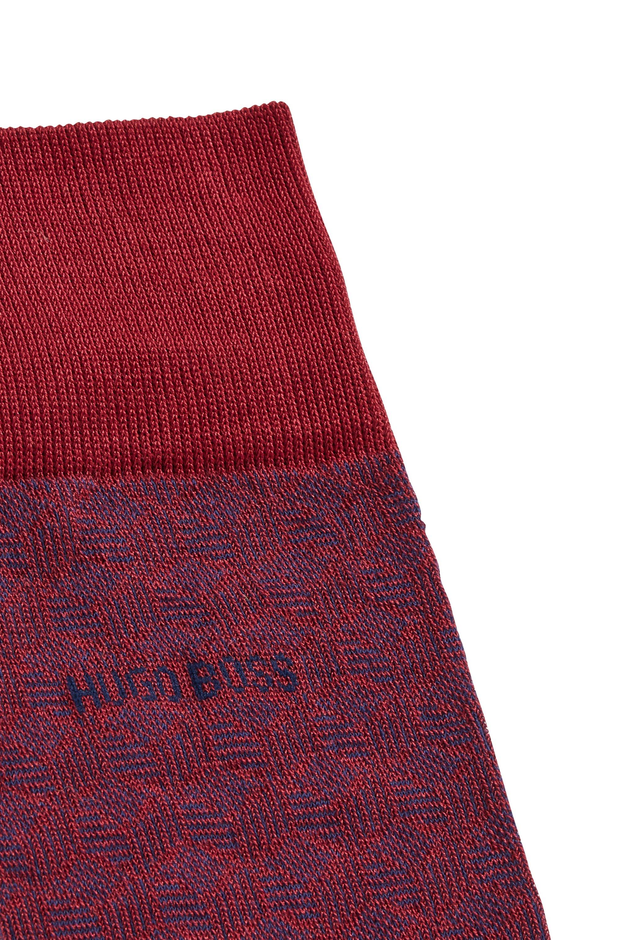 Patterned socks in mercerised stretch cotton