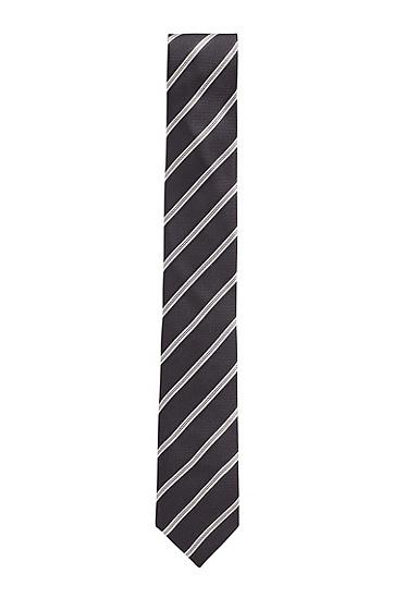 意大利制造提花条纹领带,  001_黑色