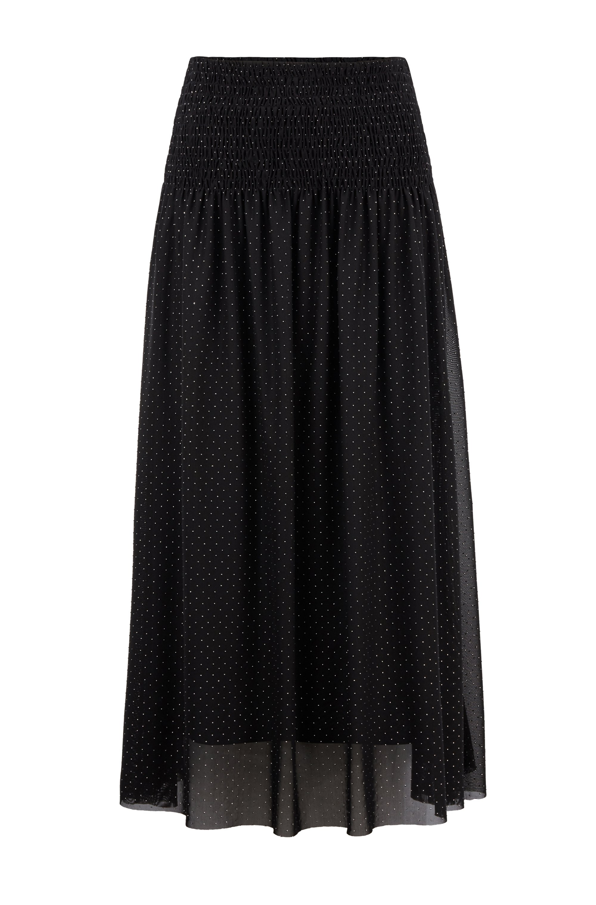Smocked-waist skirt in tulle with metallic dot print, Black