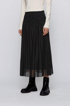スモッキングウエスト スカート チュール メタリックドットプリント, ブラック