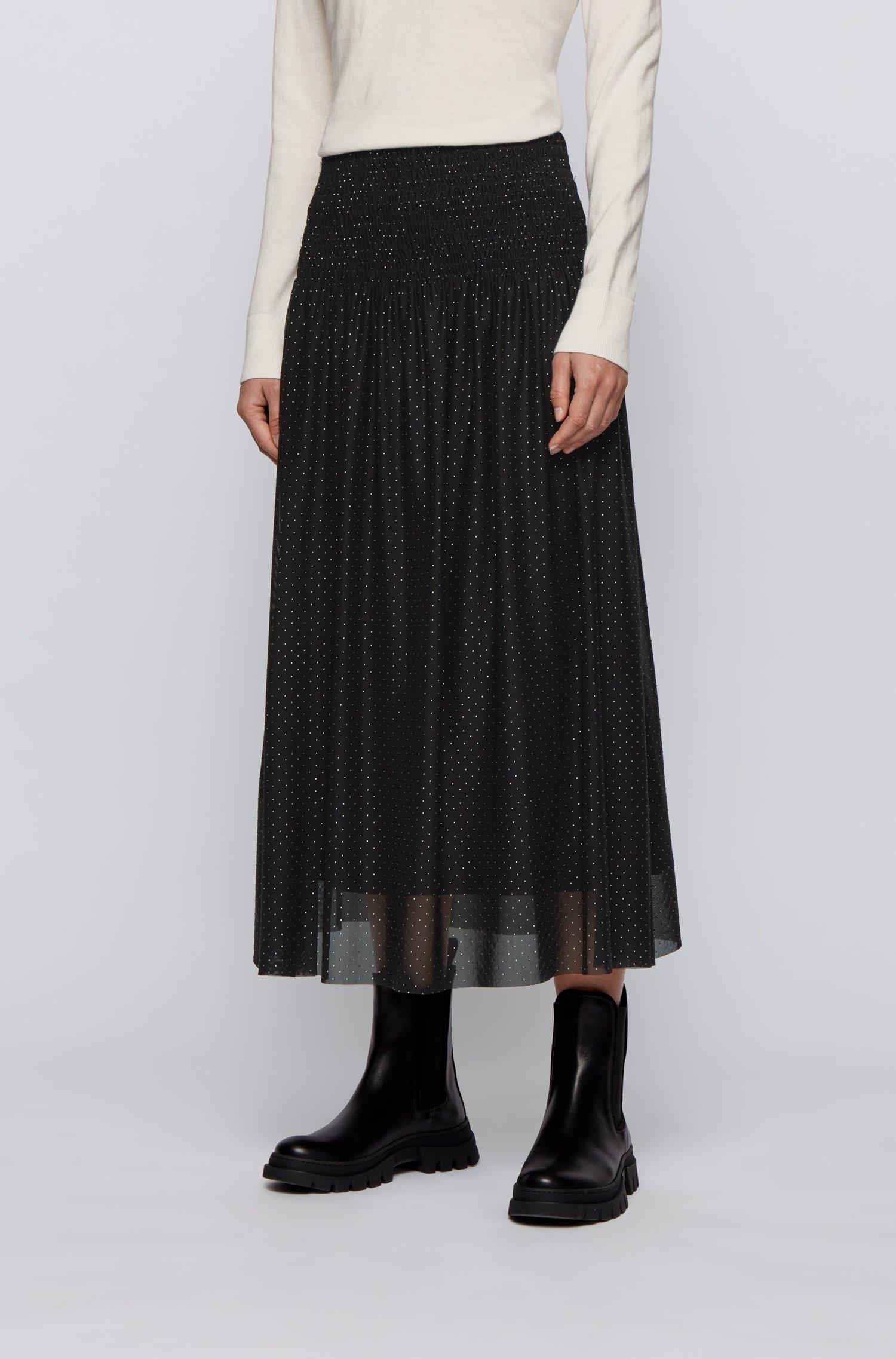 Smocked-waist skirt in tulle with metallic dot print, Black