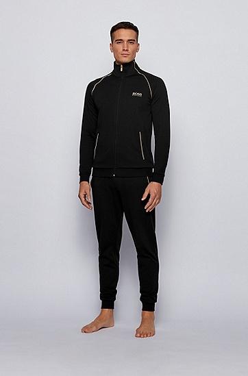 金属感装饰棉混纺家居夹克,  001_黑色