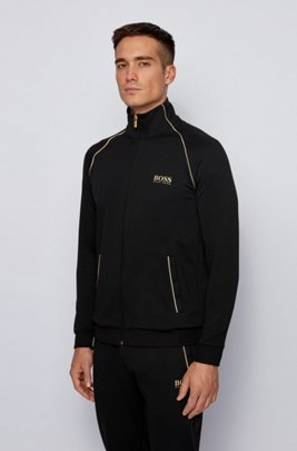 Cotton-blend loungewear jacket with metallic accents, Black