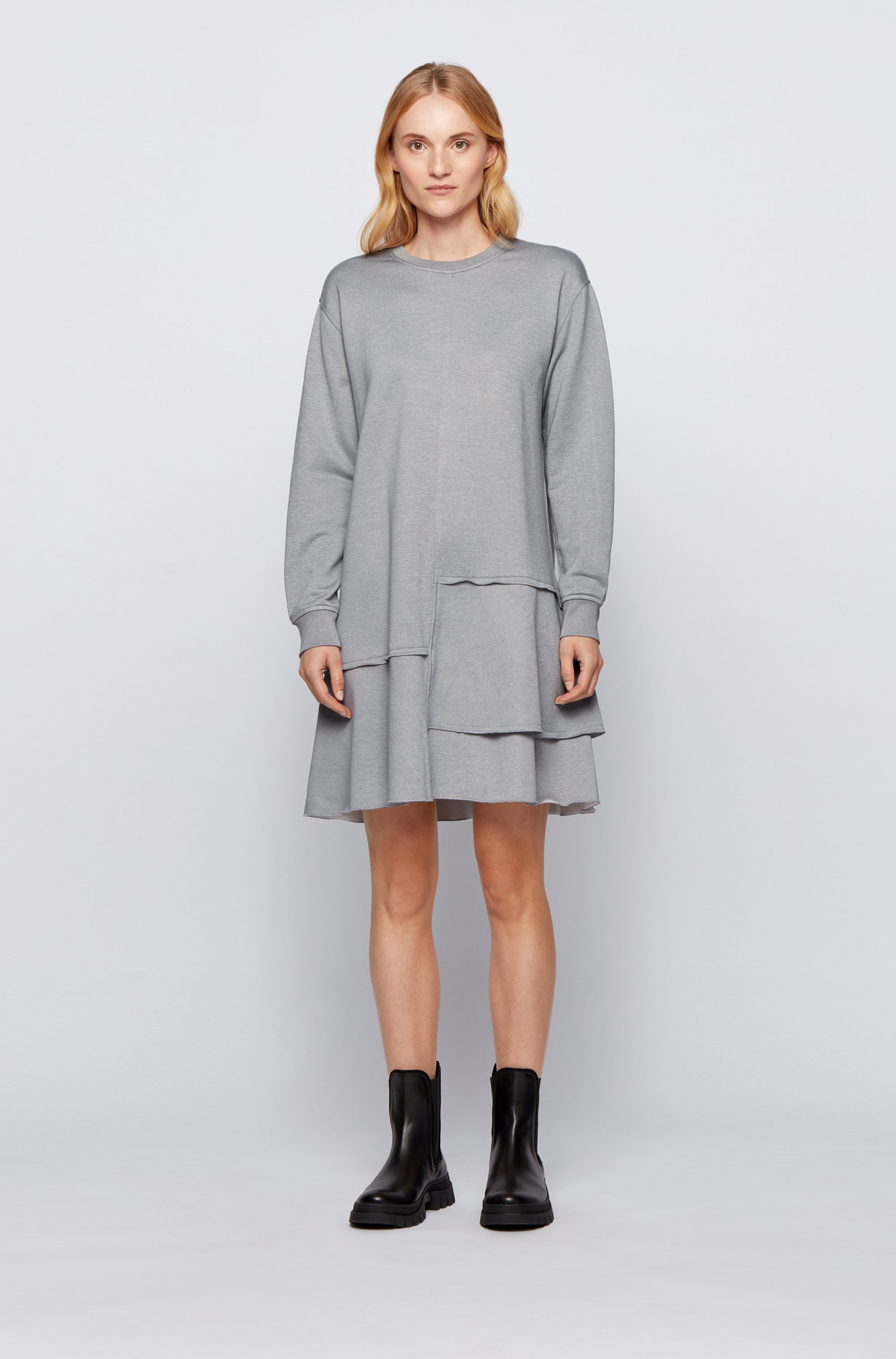 Relaxed-fit dress with dropped waist and flounce hem