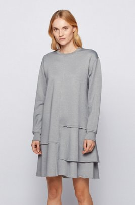 Relaxed-fit dress with dropped waist and flounce hem, Silver