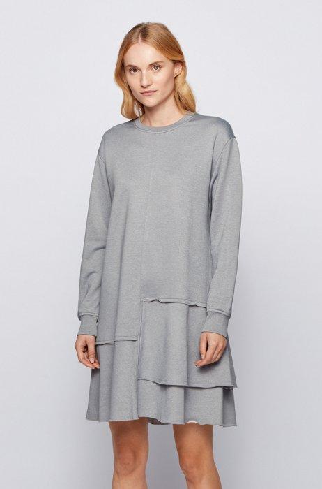 Relaxed-Fit Kleid mit vertiefter Taille und Volants-Saum, Silber