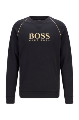 Piqué loungewear sweatshirt with metallic details, Black