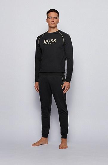 金属感装饰珠地布运动裤,  001_黑色
