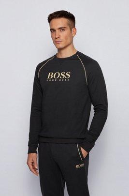 Piqué loungewear sweatshirt with metallic details, Black