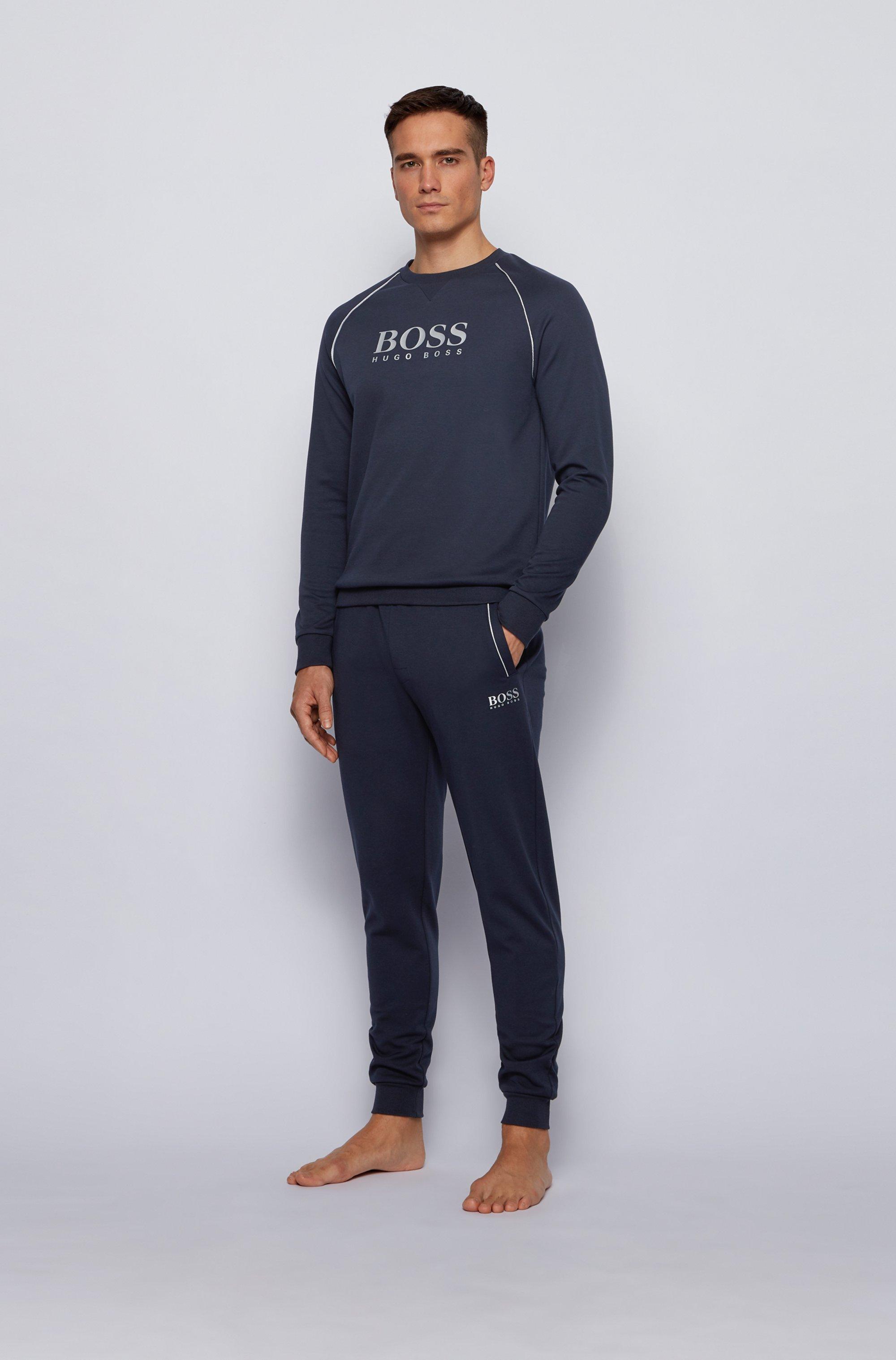 Loungewear-Sweatshirt aus Piqué mit Metallic-Details