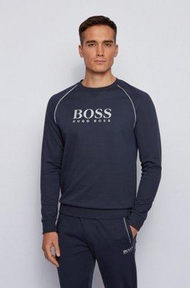 Loungewear-Sweatshirt aus Piqué mit Metallic-Details, Dunkelblau