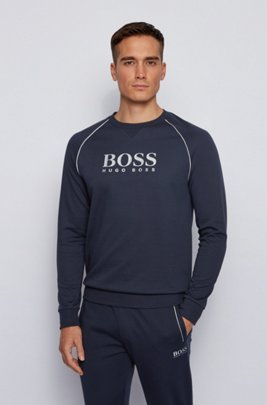Piqué loungewear sweatshirt with metallic details, Dark Blue
