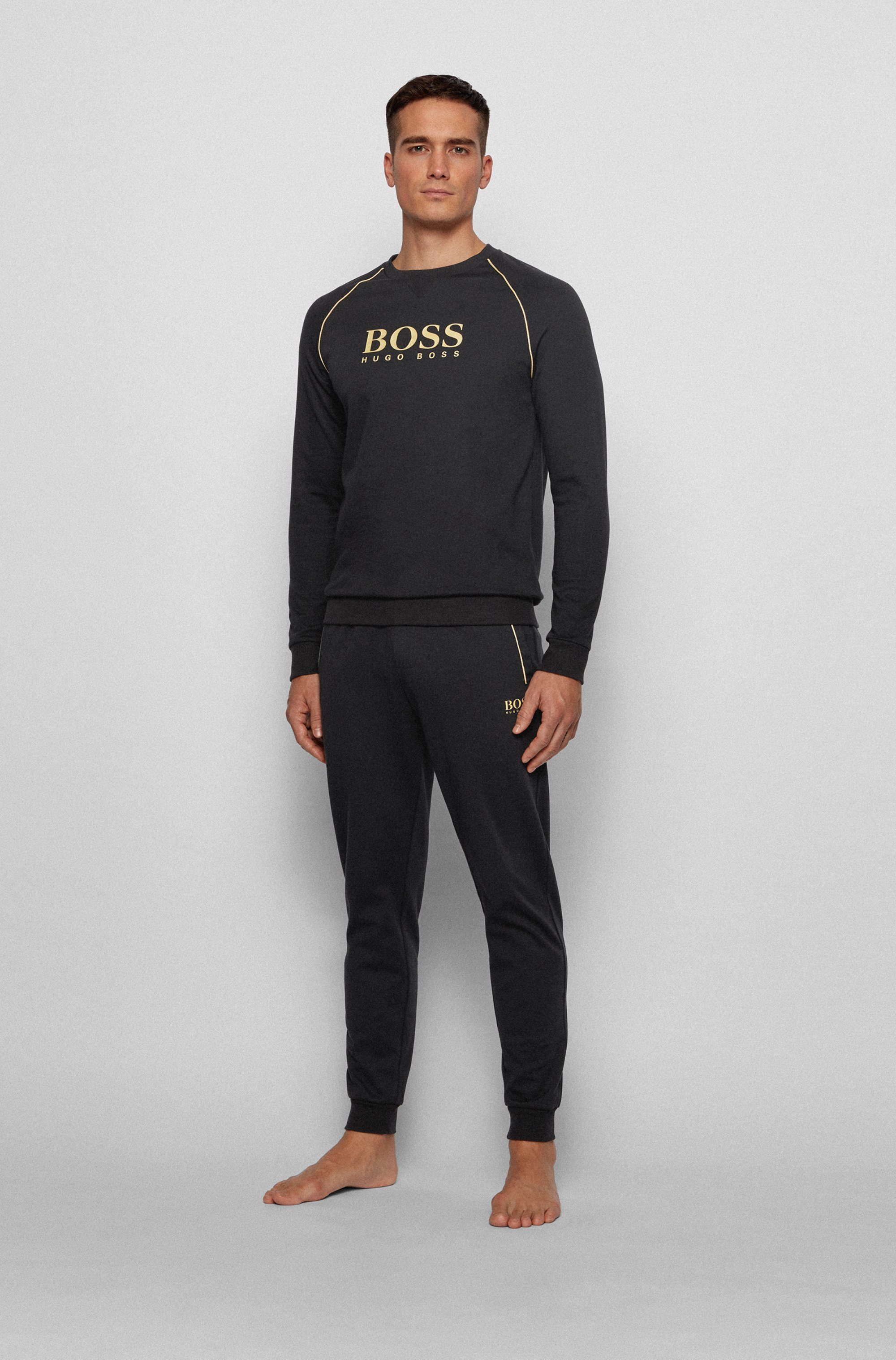 Piqué tracksuit bottoms with metallic accents