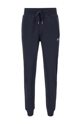 Piqué tracksuit bottoms with metallic accents, Dark Blue