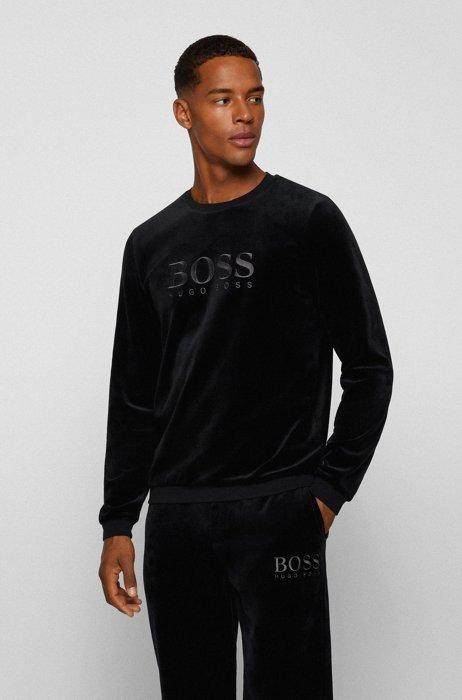 Loungesweater in velours van een katoenmix met logostiksel, Zwart