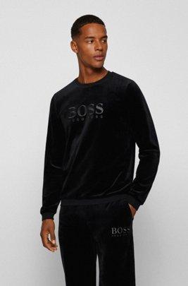 Sweat d'intérieur en velours de coton mélangé avec logo brodé, Noir