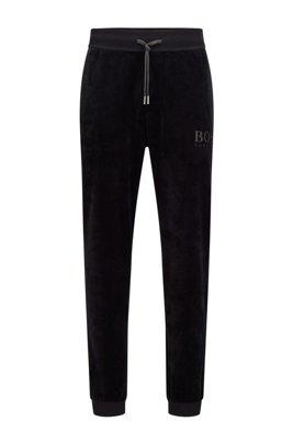 Pantalon d'intérieur en velours de coton mélangé avec logo brodé, Noir