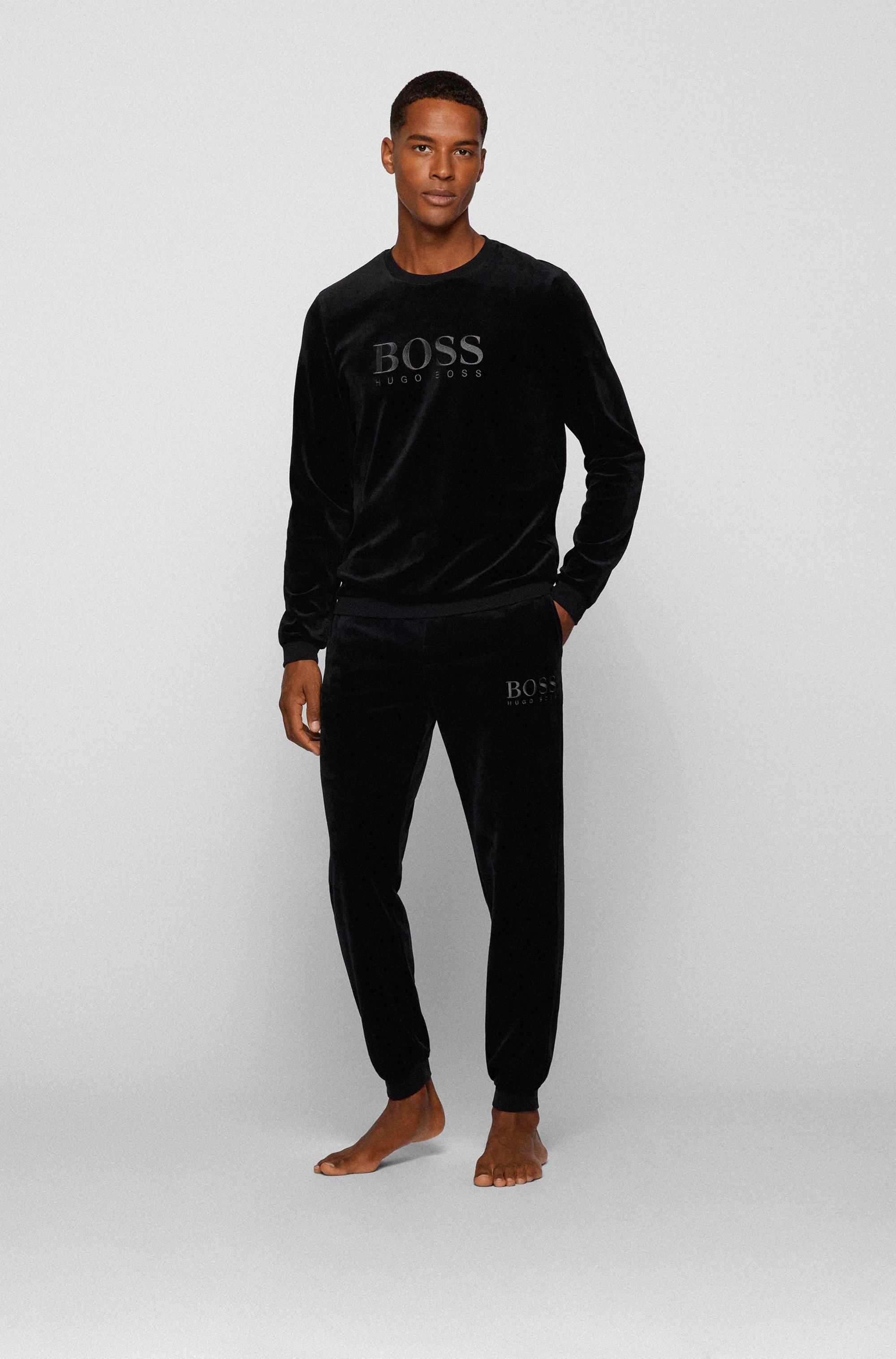 Loungewear-Hose aus Baumwoll-Mix-Velours mit Logo-Stickerei