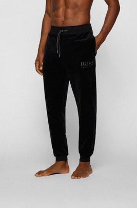 Loungewear-Hose aus Baumwoll-Mix-Velours mit Logo-Stickerei, Schwarz