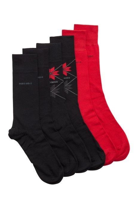 Three-pack of combed cotton-blend socks gift set, Black
