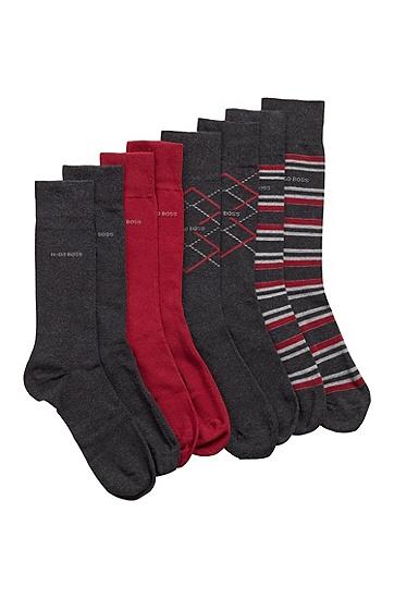中长袜四双礼盒装,  012_炭黑色