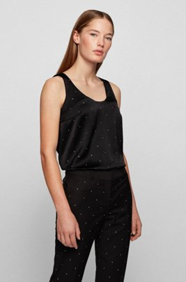 Swarovski®-embellished sleeveless top in crepe-back satin, Black