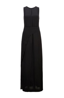 Long-length sleeveless dress in crepe georgette with twisted wrap, Black