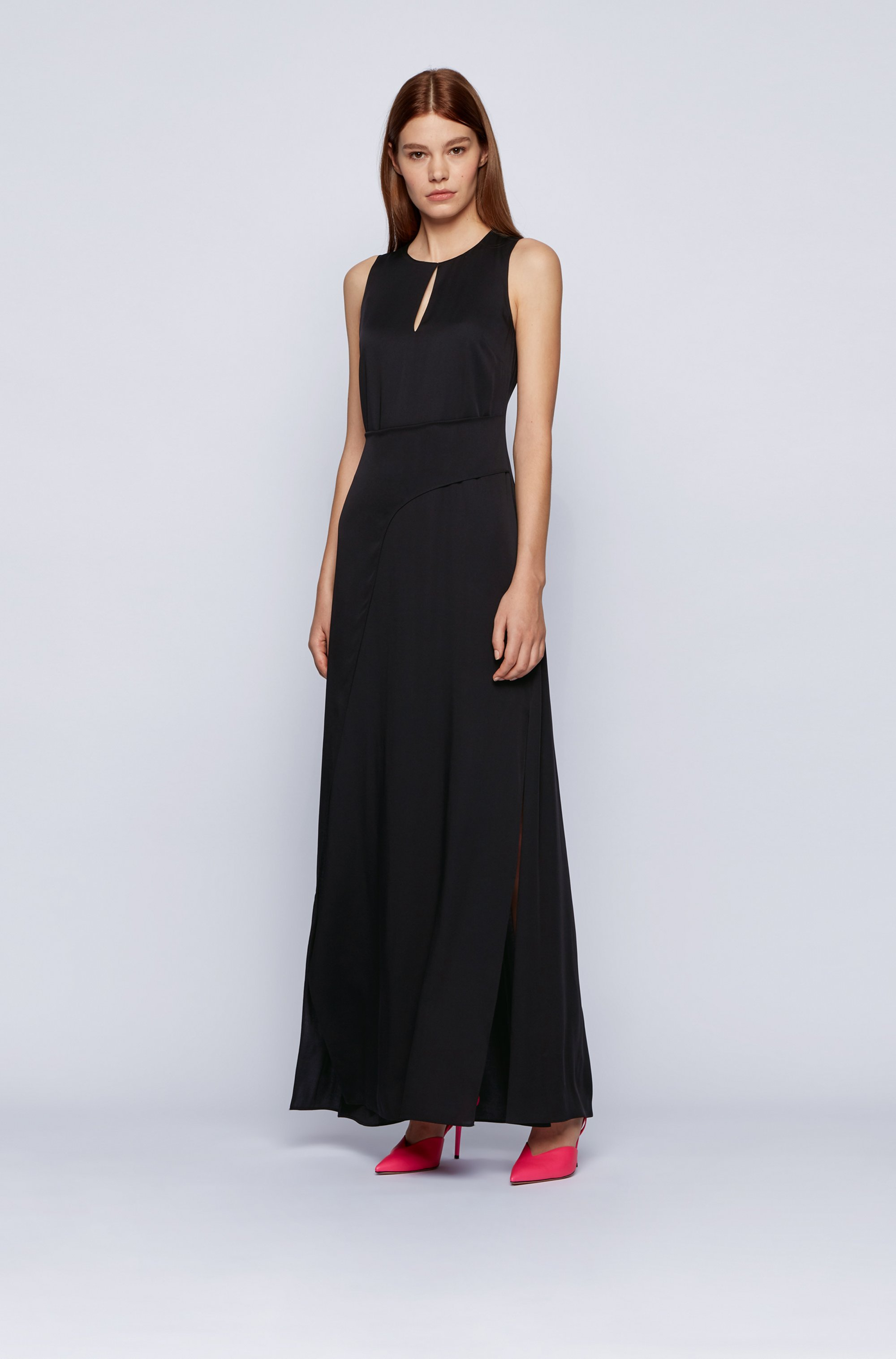 Long-length sleeveless dress in crepe georgette with twisted wrap