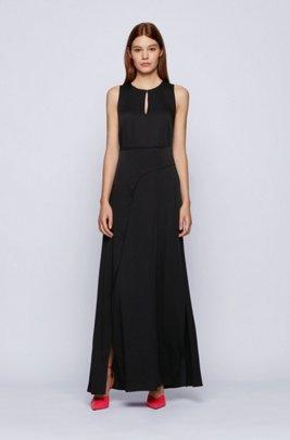 Vestido largo sin mangas en crepé georgette con cruzado retorcido, Negro