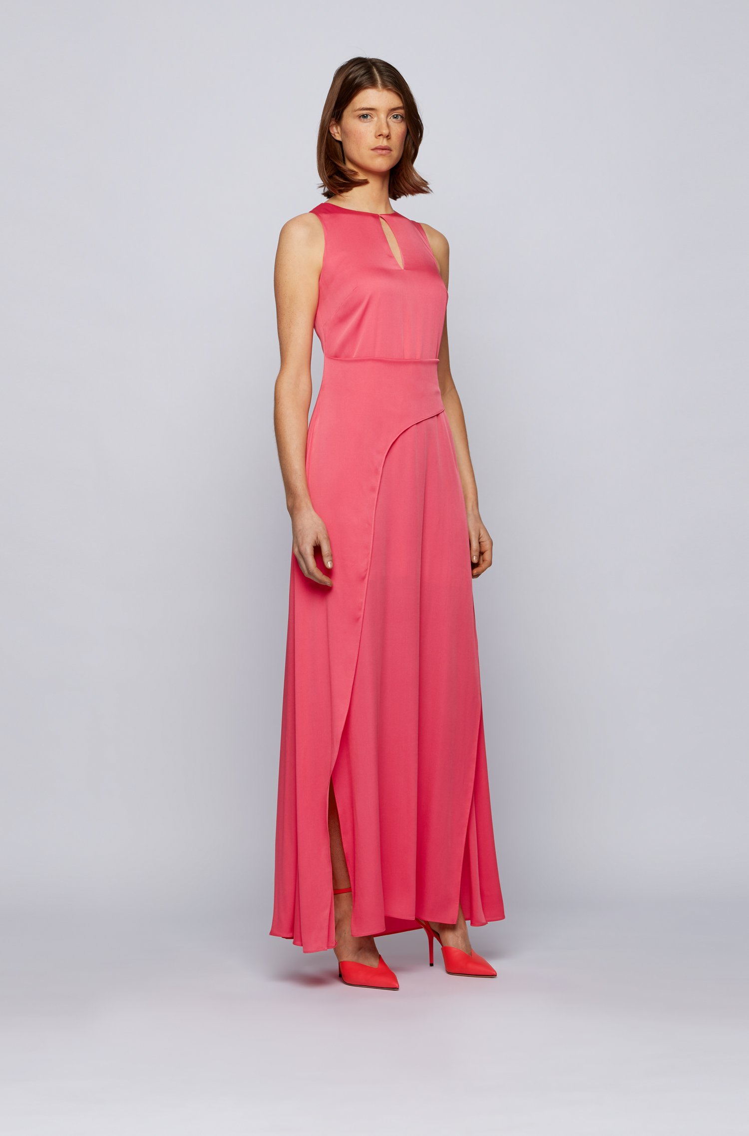 Long-length sleeveless dress in crepe georgette with twisted wrap, Pink