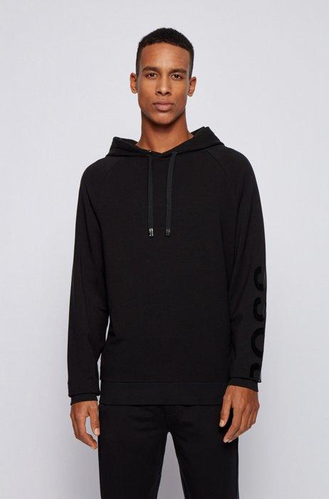 Hooded loungewear sweatshirt with sleeve logo, Black