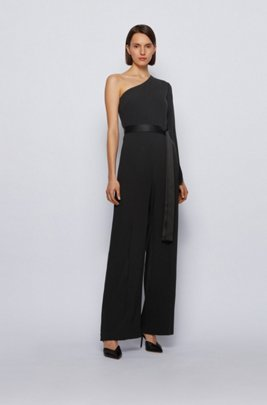 One-shoulder relaxed-fit jumpsuit in satin-back crepe, Black