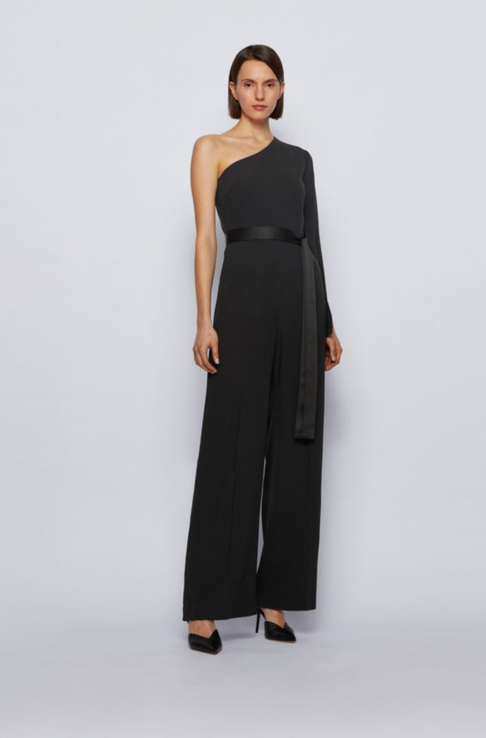 One-shoulder relaxed-fit jumpsuit in satin-back crepe