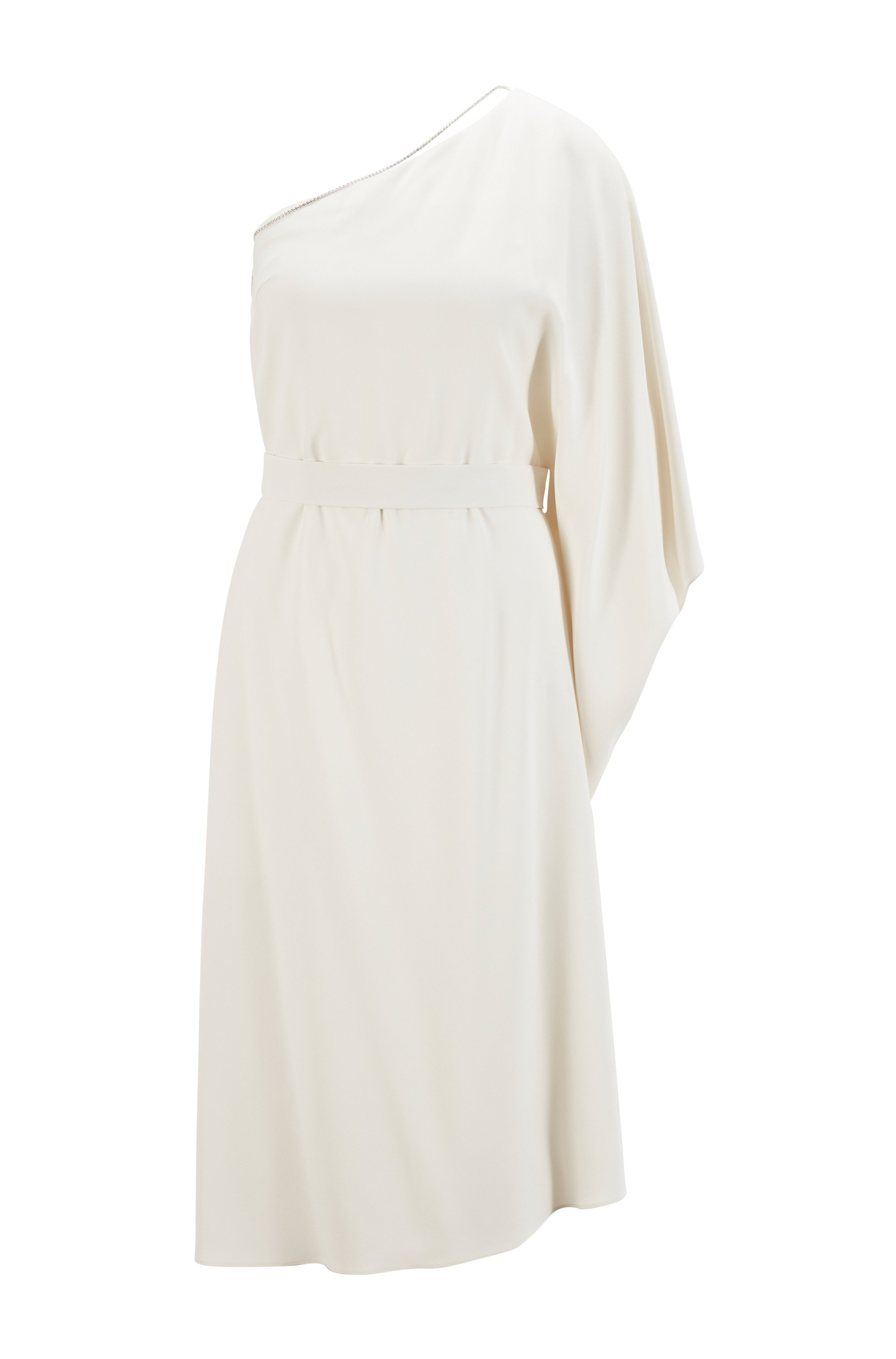 Asymmetric one-shoulder dress with crystal chain, White