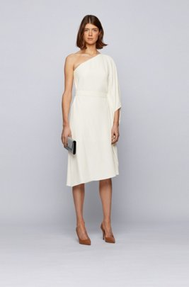 Asymmetric one-shoulder dress with Swarovski® crystal chain, White