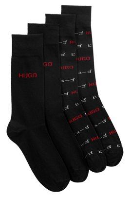 Two-pack of regular-length logo socks, Black
