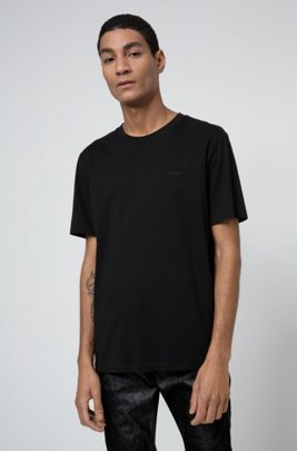 Crew-neck T-shirt in cotton with reverse-logo embroidery, Black