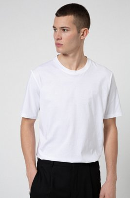 Crew-neck T-shirt in cotton with reverse-logo embroidery, White