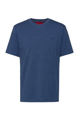 Crew-neck T-shirt in cotton with reverse-logo embroidery, Dark Blue